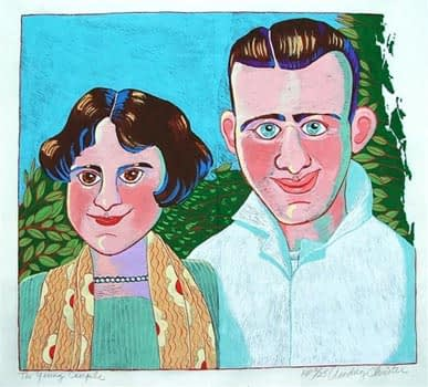 Young Couple (16 1/4 x 14 3/4)