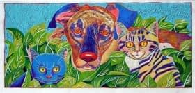 Two Cats and a Dog (24 x 20)