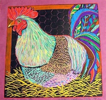 Resting Rooster (10 x 10)
