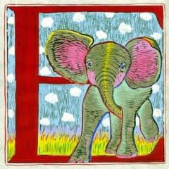 """E"" is for Elephant (7 x 7)"