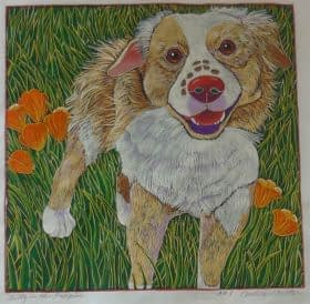 Gilly in the Poppies (12 x 12)