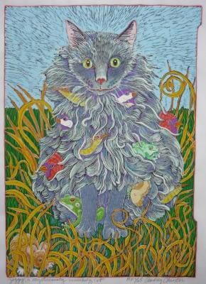 Ziggy, the Mysteriously Vanishing Cat (16-1/2 x 12)